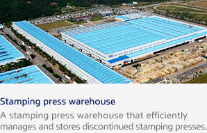 Stamping press warehouse A stamping press warehouse that efficiently manages and stores discontinued stamping presses.